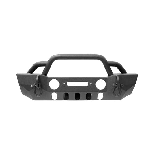 Iconic Accessories 232-5101 Textured Black Stubby Front Bumper w/Winch Plate