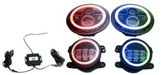 Race Sport Lighting RS3037050 Jeep Wrangler JK 7in Headlight and 4in Foglight ColorSMART Combo Complete RGB Multi-Color Kit