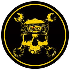 ACCEL 74839G DECAL,ACCEL SKULL 6 INCH ROUND
