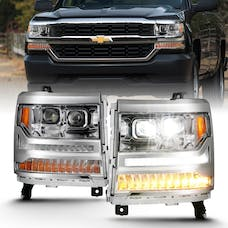 AnzoUSA 111421 LED Projector Headlights with Plank Style Chrome with Amber