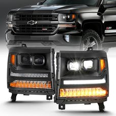 AnzoUSA 111420 LED Projector Headlights with Plank Style Black with Amber