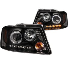 AnzoUSA 111028 Projector Headlights with Halo and LED Black