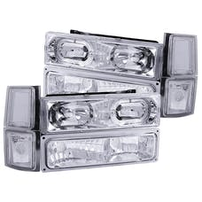 AnzoUSA 111101 Crystal Headlights with Halo Chrome with Signal & Side Marker Lights