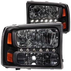 AnzoUSA 111106 Crystal Headlights Black with LED 1pc