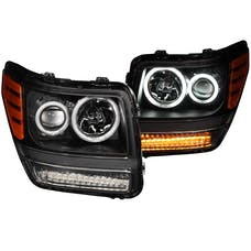 AnzoUSA 111145 Projector Headlights with Halo Black (SMD LED) G2