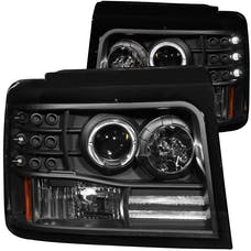 AnzoUSA 111184 Projector Headlights with Halo Black with Side Markers & Parking Lights