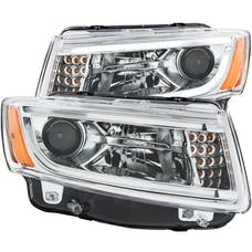 AnzoUSA 111328 Projector Headlights with Plank Style Design Chrome
