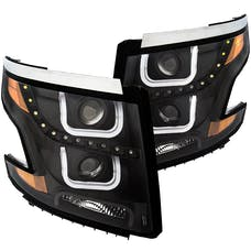 AnzoUSA 111340 Projector Headlights with U-Bar Black Clear with Amber