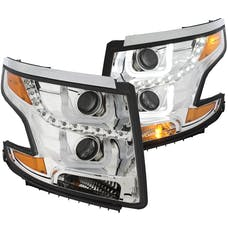 AnzoUSA 111341 Projector Headlights with U-Bar Chrome Clear with Amber