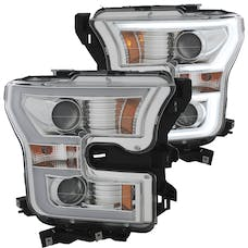 AnzoUSA 111348 Projector Headlights with Plank Style Design Chrome with Amber