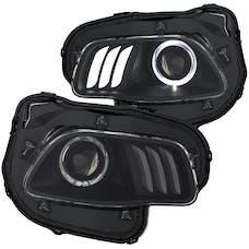 AnzoUSA 111353 Projector Headlights Black clear with white & Red