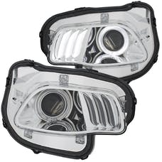 AnzoUSA 111354 Projector Headlights Chrome clear  with white & Red