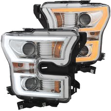 AnzoUSA 111358 Projector Headlights with Plank Style Switchback Chrome with Amber