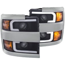 AnzoUSA 111359 Projector Headlights with Plank Style Design Black with Amber