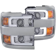 AnzoUSA 111360 Projector Headlights with Plank Style Design Chrome with Amber
