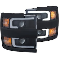 AnzoUSA 111363 Projector Headlights with Plank Style Design Black with Amber