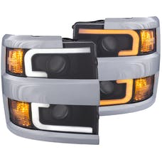 AnzoUSA 111365 Projector Headlights with Plank Style Switchback Black with Amber (Chrome Rim)
