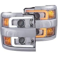 AnzoUSA 111366 Projector Headlights with Plank Style Switchback Chrome with Amber (Chrome Rim)