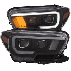 AnzoUSA 111377 Projector Headlights with Plank Style Design Black with Amber