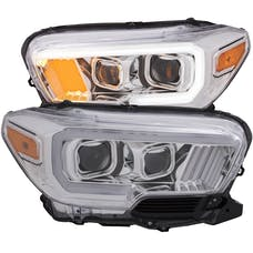 AnzoUSA 111378 Projector Headlights with Plank Style Design Chrome with Amber