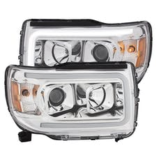 AnzoUSA 111382 Projector Headlights with Plank Style Design Chrome with Amber