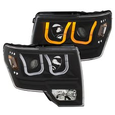 AnzoUSA 111383 Projector Headlights with U-Bar Switchback Black with Amber