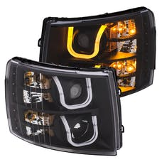 AnzoUSA 111384 Projector Headlights with U-Bar Switchback Black with Amber