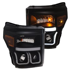 AnzoUSA 111386 Projector Headlights with U-Bar Switchback Black with Amber