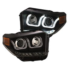 AnzoUSA 111387 Projector Headlights with U-Bar Switchback Black with DRL