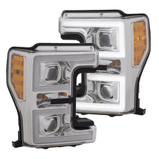 AnzoUSA 111389 Projector Headlights with Plank Style Switchback Chrome with Amber