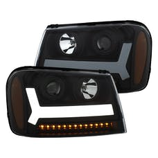 AnzoUSA 111390 Projector Headlights with Plank Style Design Black with Amber