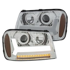 AnzoUSA 111391 Projector Headlights with Plank Style Design Chrome with Amber