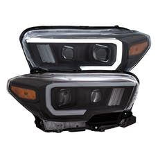 AnzoUSA 111397 Projector Headlights with Plank Style Switchback Black with Amber with DRL