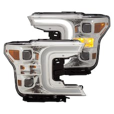 AnzoUSA 111399 Projector Headlights with Plank Style Switchback Chrome with Amber