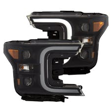 AnzoUSA 111400 LED Projector Headlights with Plank Style Switchback Black with Amber