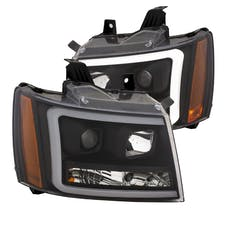 AnzoUSA 111402 Projector Headlights with Plank Style Switchback Black with Amber