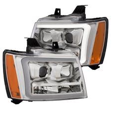 AnzoUSA 111403 Projector Headlights with Plank Style Switchback Chrome with Amber