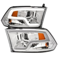 AnzoUSA 111405 Projector Headlights Plank Style Design Chrome with Halo