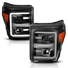 AnzoUSA 111406 Projector Headlights with Plank Style Switchback Black with Amber