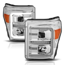 AnzoUSA 111407 Projector Headlights with Plank Style Switchback Chrome with Amber