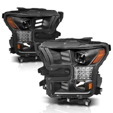 AnzoUSA 111408 Projector Headlights with Plank Style Design Black-Amber Sequential Turn Signal