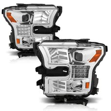AnzoUSA 111409 Projector Headlights with Plank Style Design Chrome-Amber Sequential Turn Signal