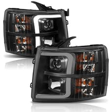 AnzoUSA 111410 Projector Headlights with Plank Style Switchback Black with Amber