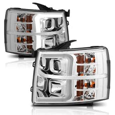 AnzoUSA 111411 Projector Headlights with Plank Style Switchback Chrome with Amber