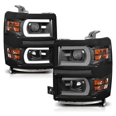 AnzoUSA 111412 Projector Headlights with Plank Style Switchback Black with Amber