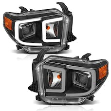 AnzoUSA 111414 Projector Headlights with Plank Style Switchback Black with Amber