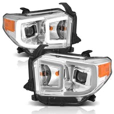 AnzoUSA 111415 Projector Headlights with Plank Style Switchback Chrome with Amber