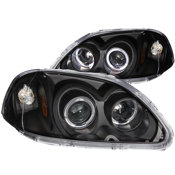 AnzoUSA 121068 Projector Headlights with Halo Black