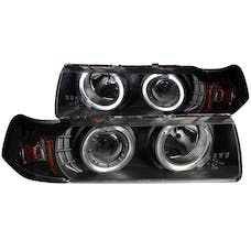 AnzoUSA 121325 Projector Headlights with Halo Black G2 1 pc