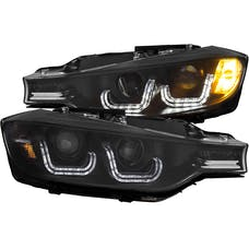 AnzoUSA 121506 Projector Headlights with U-Bar Black (HID Compatible)
